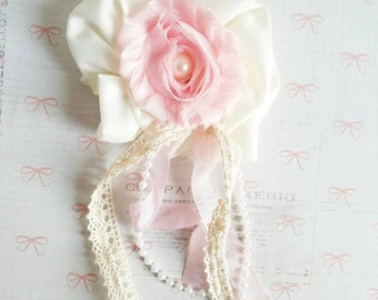 Pink and Ivory Flower Brooch, Breast Cancer Awareness Brooch, Pink and Ivory Brooch, Shabby Chic Brooch, Handmade Flowers, Nursery