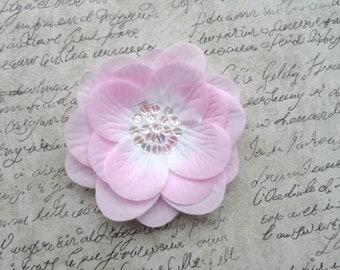 Beautiful Pink Shabby Chic Flower, Pink and White Flower, Handmade Flower