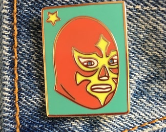 Lucha Libre, Luchador, Soft Enamel Pin, Mexican Wrestling Mask, Loterie, Gift, Jewelry, Art (PIN24)