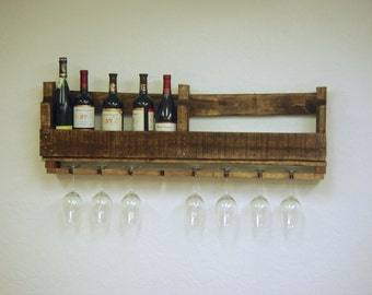 """Reclaimed wood pallet Wine rack Caddy rustic kitchen farmhouse Furniture with wine glass holders Storage boho primitive 10 bottle wine 40"""""""