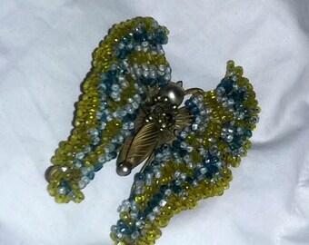 Vintage Haskell Butterfly Pin Brooch Earrings Set Beaded Demi Parure estate scarce