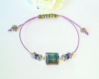 Bracelet Coulissant Parme / Vert Anis Macramé et Cristal / Plaqué argent - Crystal macrame bracelet / Silver plated