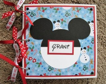 Disney Autograph Book - Christmas - Chipboard - Mickey Mouse Snowman