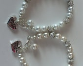 Pearl and crystal ball mother of the bride bracelet or mother of the groom bracelet  or grand mother come gift boxed for gift giving