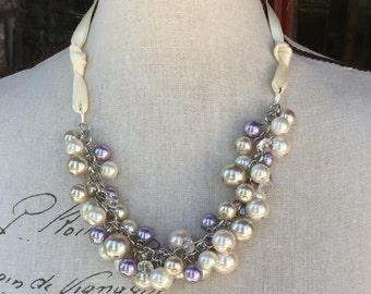 Chunky pearl necklace in Ivory, Champagne, Wisteria