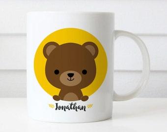 Custom Name Mug, Bear Mug, Woodland Animal, Personalized Mug, Office Mug, Best Friend Gift, Birthday Gift, Cute Animal Mug Gift