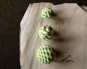 vintage lampwork glass beads - green and white twisted glass ball beads - small medium or large - collectable 1930s