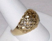 14K Gold Diamond Cut, Pierced Dome Ring / Geometric Design / Men's or Women's Size 9.5 To 9.75 / 3.6 Grams / FREE US Shipping