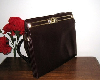 Attaché Style Handbag /Maroon Textured Faux Leather Vintage Accordion, Briefcase / 1940s/50s / Double Straps / FREE US Shipping