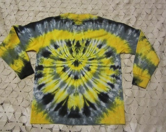 Tie dye long sleeve shirt, (2) Youth Small with yellow, grey and black- spider design, 450