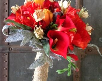 Rustic Red poppy bridal bouquet,rustic bouquet, rustic wedding,country bouquet,country wedding,poppy bouquet,red bouquet,fall bouquet