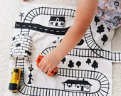 Train Playmat, Organic Train Play Mat, Train Track, Train Storage, Travel Train Toy, Imaginative Play, Boys Birthday Gift, Toddler Train Mat
