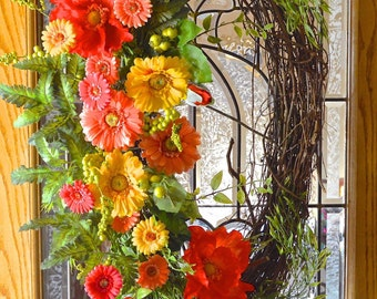 Stunning Grapevine Floral Oval Wreath - Grapevine Wreath Front Door - Wreath Grapevine - Wreath Summer
