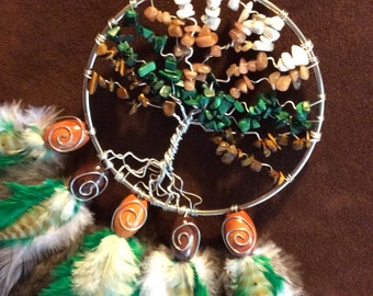 Dream Catcher- Tree of Life- Beautiful Silver Dream Catcher- Made to Order