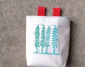 4 TREES.blue ..handcarved, blockprinted, rock climbing chalk bag..1-3day order