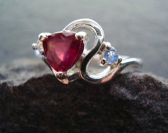 Hearts Desire - Genuine Ruby Trillion & Rainbow Moonstone Ring, 925 Sterling Silver Ring, July Birthstone, Gifts For Her, Alternative Ring