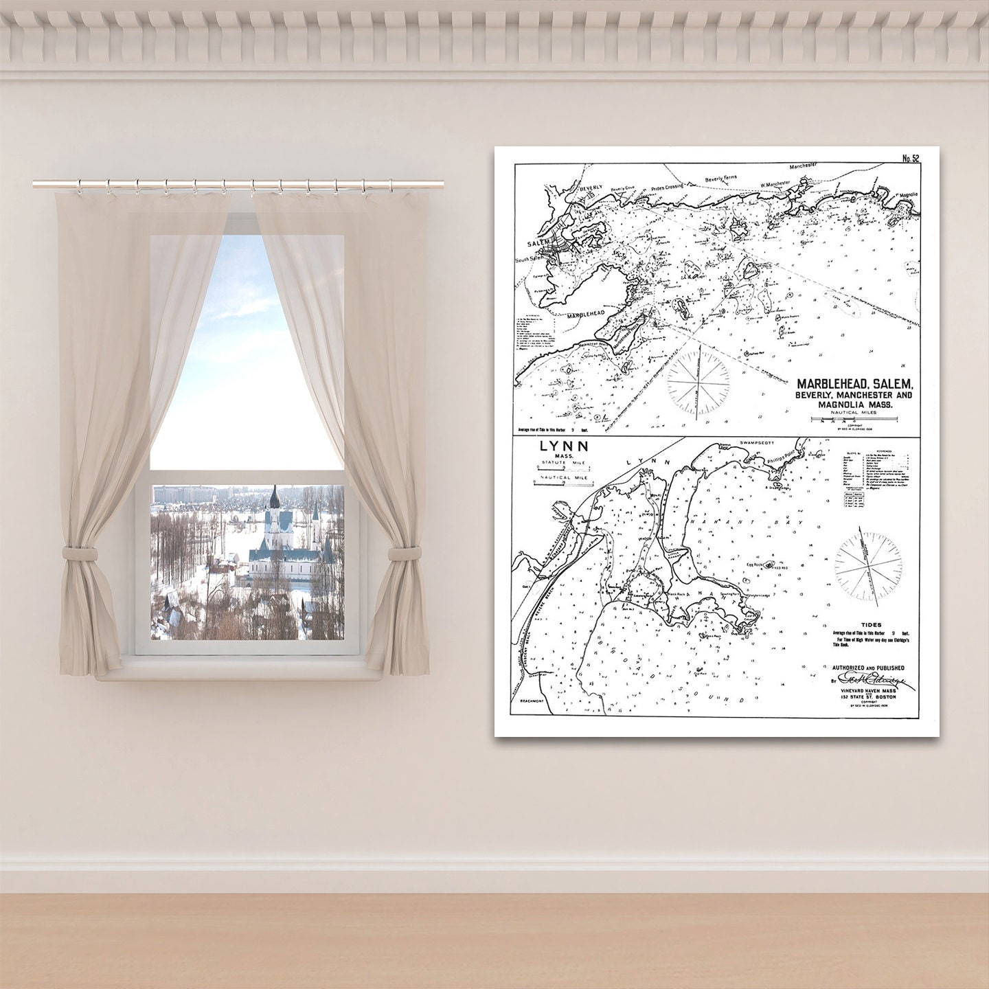 Antique print of harbor chart of marblehead salem lynn antique print of harbor chart of marblehead salem lynn massachusetts on your choice of photo paper matte paper or canvas giclee nvjuhfo Gallery