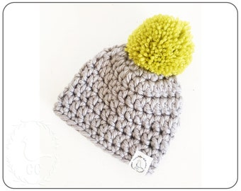CHUNKY HIPSTER HAT : baby crochet hat in size 0-3 months