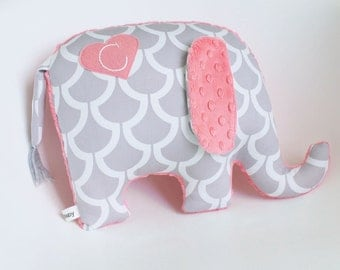 Personalized Elephant Pillow, modern nursery decor, elephant plush, personalized nursery gift, gray and coral pink, grey and coral