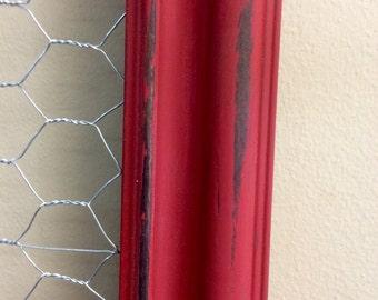Chicken Wire Frame Memo Board Red Vintage