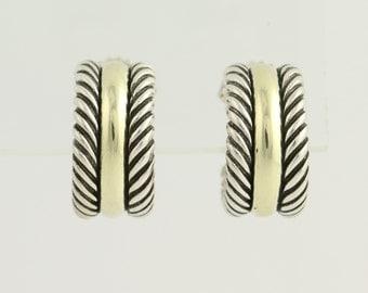 Hoop Huggie Earrings Sterling Silver 14k Yellow Gold N1437