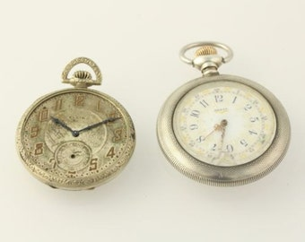 Set of 2 Antique Pocket Watches Elgin 1897 1923 Open Face 7j Does Not Run As Is y9239