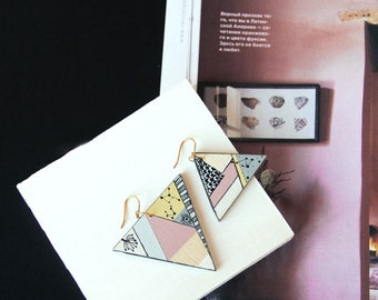 Triangle pink hand painted earrings