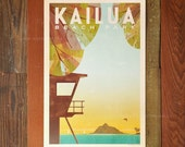 Kailua Beach Park - 12x18 Retro Hawaii Travel Print