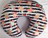 Black and White Floral Nursing Pillow Cover with Black Minky / Floral Nursery Decor, Floral Baby Bedding, Baby Girl Bedding