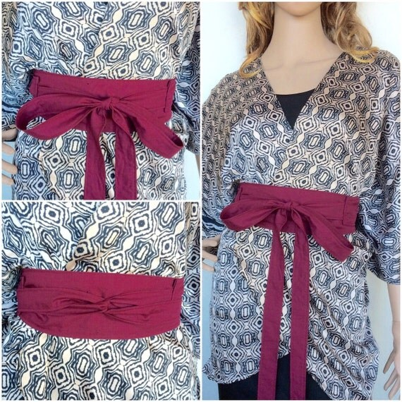 Organic Cotton Wrap Belt In Color Wine