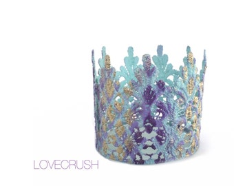 Ready to Ship || Mermaid pattern mini Tallulah crown|| unique || purple + turquoise + gold ||headband option|| WATERPROOF