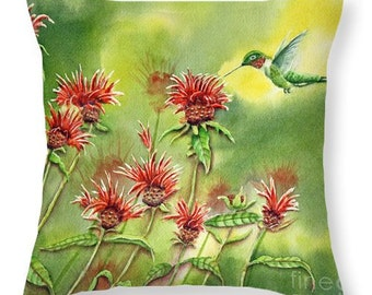 Hummingbird Throw Pillow Cover, Red Beebalm Flowers, Wildlife, Nature, Home Decor, Red, Green, Yellow