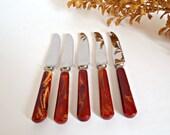 RESERVED for Beraf Aygören 5 Bakelite Knives Dinkee Mini Hors D'oeuvres Knife Marbled Bakelite Flatware Cutlery