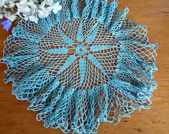 Vintage Doily Crocheted Doily Large Blue Handmade  Doilies  D25