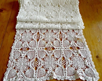 Doily Crocheted Runner Doily Vintage Long White Doilys Centerpiece Scarf D28