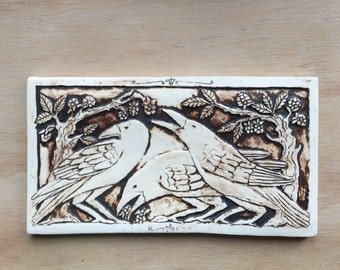 Three crows 5x9 inch tile handmade porcelain tile in chocolate brown for wall hanging or installation