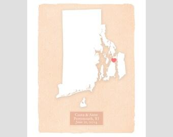 RHODE ISLAND personalized art print - Home decor - Custom text Wedding gift Bridal shower Housewarming gift  Larger for wedding guest book