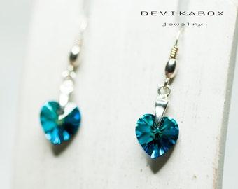 Heart Earrings, Swarovski Earrings, Crystal Heart Earrings, Romantic Earrings, Gift For Her, Swarovski Jewelry, Bermuda Blue Heart Earrings