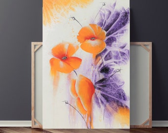 Abstract Painting, Abstract Flower Painting, Original Painting on Canvas, Orange Poppies & Purple Painting, Floral Painting, Heather Day