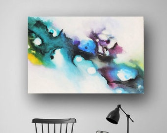 Pour Painting, Original Abstract Painting on Canvas, Multicolored Vibrant Large Acrylic Painting, 36x24, Heather Day Paintings on Etsy