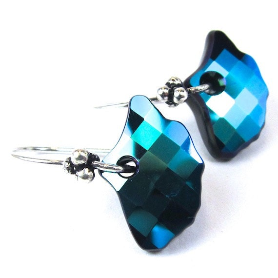 Swarovski Crystal Jet Glacier Blue Gingko Leaf Earrings Etsy