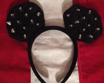 Adult spike studded mickey mouse ears headband