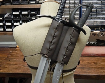 Leather double back scabbard for latex sword witcher style. LARP, cosplay.