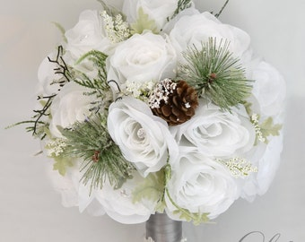 "17 Piece Package Wedding Bridal Bouquet Silk Flowers Bouquets Bride Maid Groom Winter Pine Cone WHITE SILVER GREEN ""Lily of Angeles"" WTGR05"