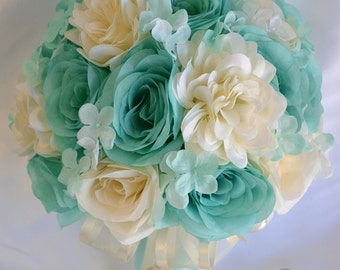 "17 Piece Package Wedding Bridal Bouquet Silk Flowers Bouquets Maid Bridesmaid Party ROBIN'S Egg Blue POOL Ivory ""Lily of Angeles"" TIIV01"