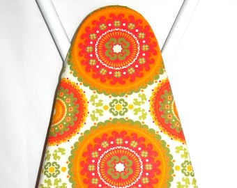 Ironing Board Cover -  Orange, red, green, yellow and cream circles - Laundry and Housewares