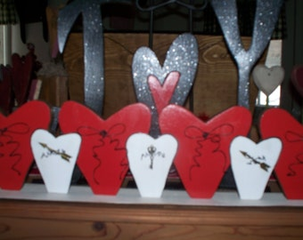 Wooden Hearts in a Row