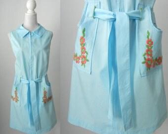 Vintage Dress, Blue Vintage Dress, 1960s Blue Dress, 1960 Vintage Dress, Blue Cotton Dress, Retro 60s Dress, Summer 60s Dress, Blue Cotton