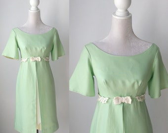 Vintage Dress, 1960s Dress, Green Vintage Dress, Retro Green Dress, 60s Green Dress, Green Summer Dress, Empire Waist Dress, Mod 60s Dress