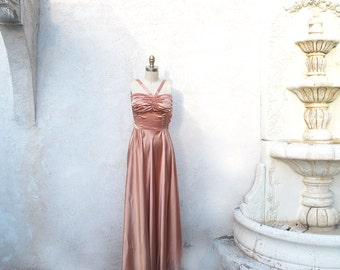 Vintage 40s Evening Gown, Champagne Satin Gown, 1940 Formal Dress with Jacket, XSmall Halter Dress, Bias Skirt